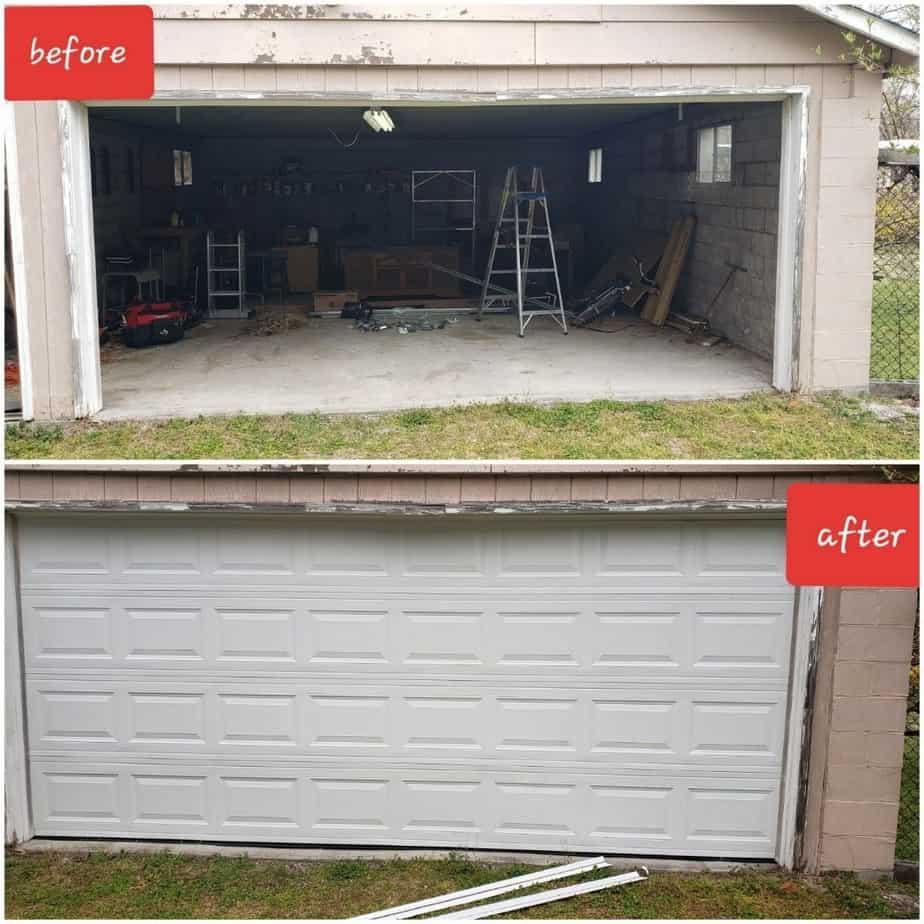 before and after garage door maintenance