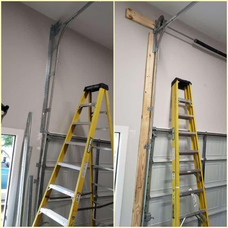 garage door being installed