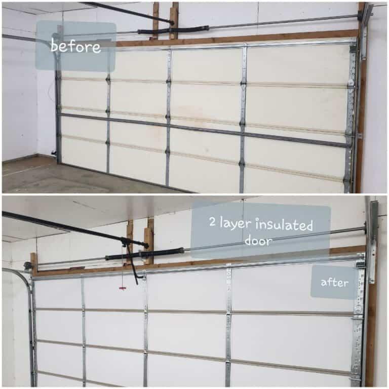 Insulation services in progress on a garage door