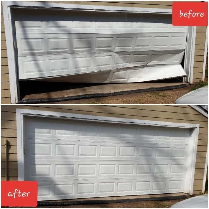 damaged garage door before and after repair